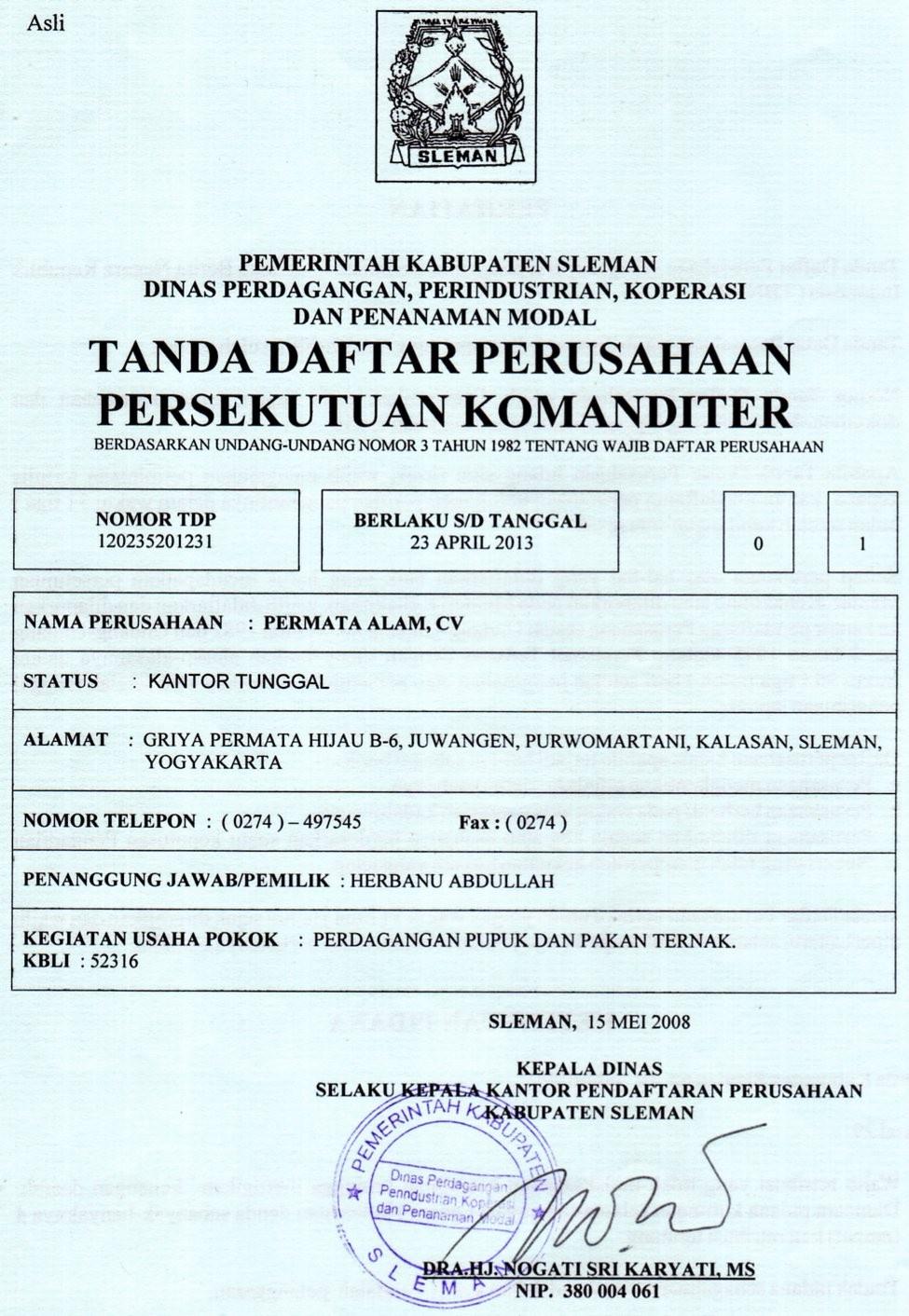 tanda daftar perusahaan   tdp